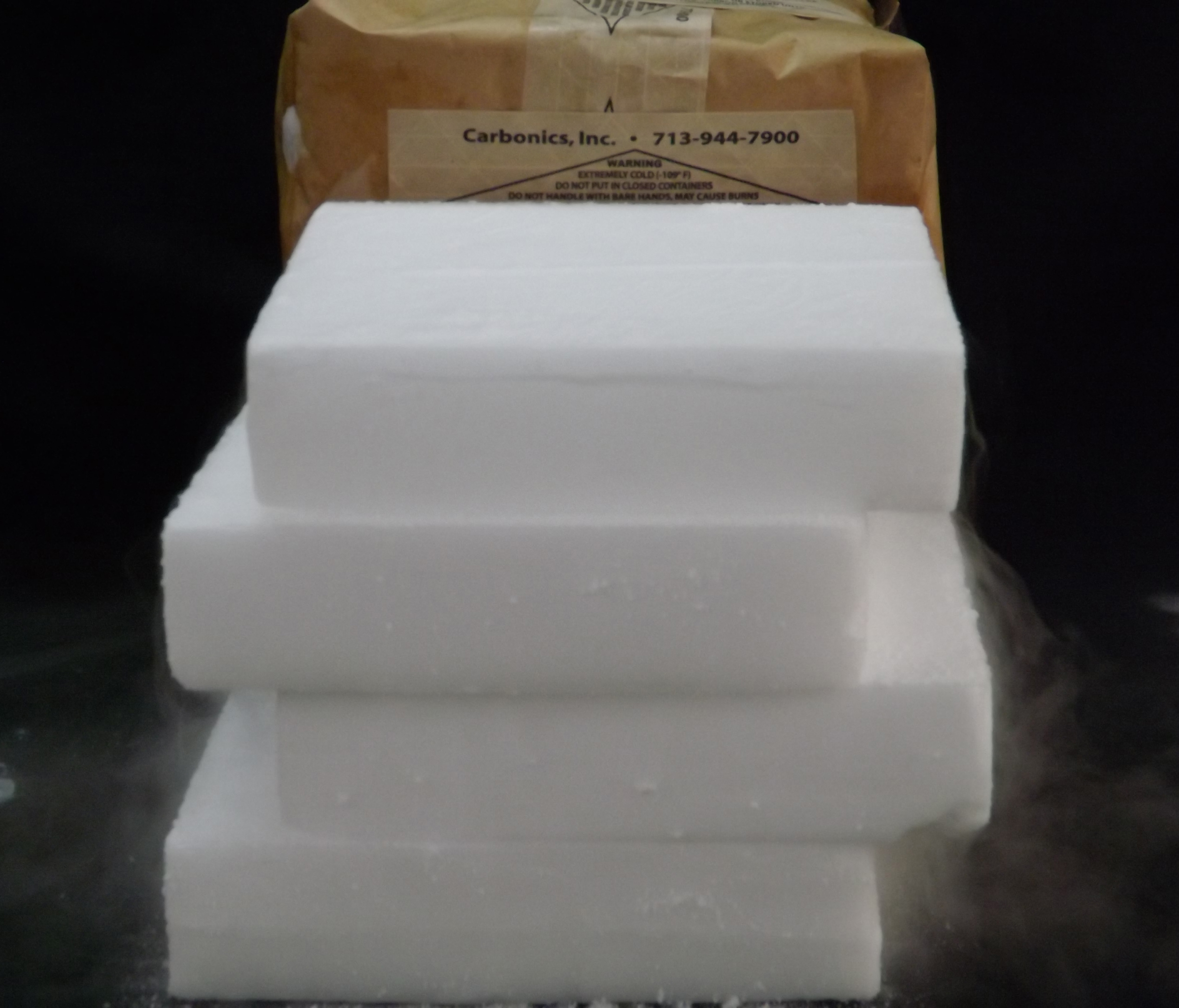 Carbonics Dry Ice Slices packaged and ready to ship Houston, TX