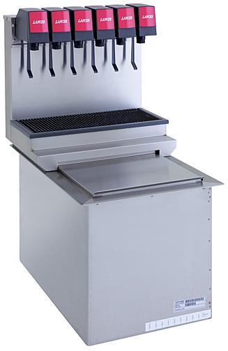 Lancer ice cooled drop in soda dispenser